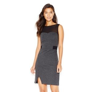 KENSIE Dark Gray Ponte Sleeveless Illusion Dress